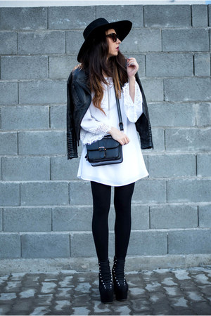 black H&M hat - white OASAP dress - black Zara jacket