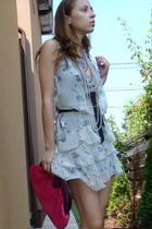 white random brand dress - gray Zara dress - pink custom made purse - beige Gues