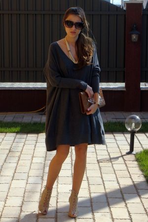 black Mango sunglasses - beige Bershka shoes - gray NewYorker dress