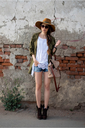 dark brown boots - brown hat - army green Sheinside jacket