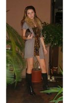 brown custom made dress - gray H&M vest - black Mango socks - black Zara shoes -