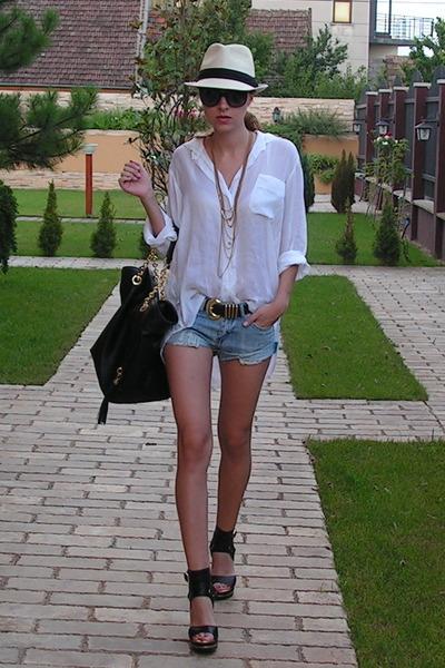 white Zara shirt - blue DIY shorts - black jazz shoes - black random brand acces