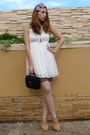 White-zara-dress-pink-golden-point-stockings-beige-bbup-shoes-black-vintag
