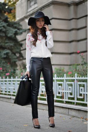 white Sheinside shirt - black custom made pants - black Martofchina pumps