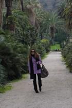 purple custom made coat - black random tights - black Bershka scarf - gray Zara