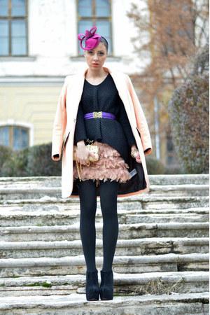 peach H&M coat - black Zara sweater - salmon Stradivarius skirt