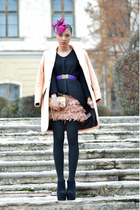 peach H&M coat - black Zara sweater - salmon Stradivarius skirt