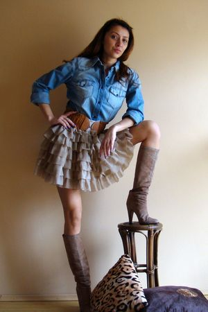 blue Zara shirt - beige custom made skirt - brown random belt - beige vintage bo