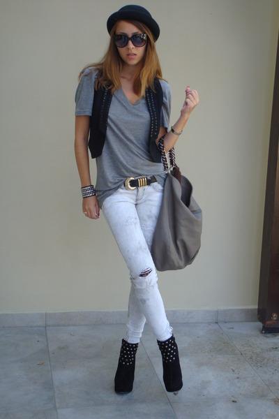 black Zara vest - black red lips boots - gray Bershka jeans