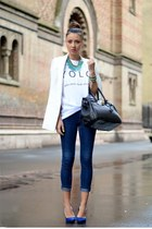 blue H&M jeans - white Zara vest - white t-shirt factory t-shirt