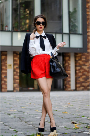 black Zara blazer - white H&M shirt - red OASAP shorts