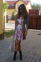 gray Bershka cardigan - pink vintage dress - gray BBup boots - beige Musette bag