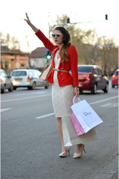 red Zara blazer - eggshell Magazin Up dress