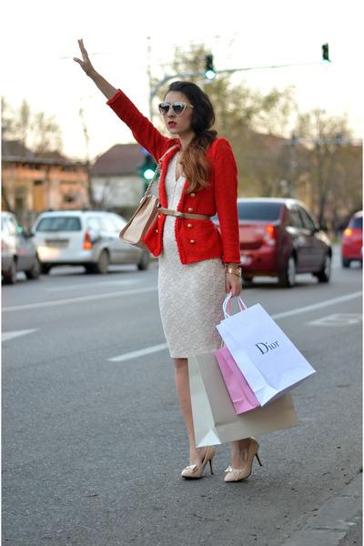 red Zara blazer - eggshell Magazin Up dress
