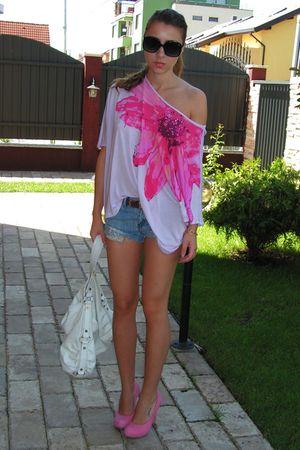 pink Mango dress - white BBup shoes - black vintage bag - black Mango sunglasses