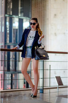 navy Zara blazer - blue chicnova shorts - black dior sunglasses