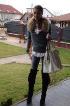 beige vintage scarf - black custom made boots - blue Bershka jeans