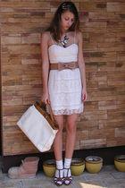pink NewYorker dress - beige custom made belt - beige Random Bag accessories - b