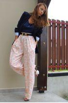 black Zara blazer - blue random top - orange thrifted pants - black thrifted bel
