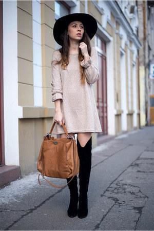 black boots - tan dress