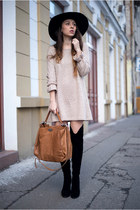 black boots - tan dress