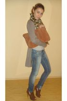 gray Bershka cardigan - silver random shirt - blue pull&bear jeans - brown rando