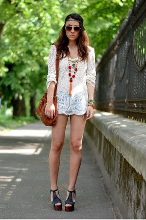 white chicnova blouse - dark brown Mango bag - blue kenvelo shorts