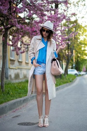 beige Front Row Shop coat - blue Zara shirt