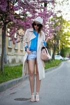 beige Front Row Shop coat - blue Zara shirt