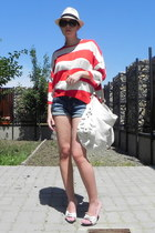 white Zara bag - beige New Yorker hat - red Zara sweater - blue pull&bear shorts