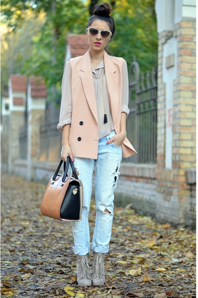 Front Row Shop vest - Nursace boots - H&M shirt - nowIStyle bag