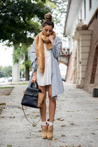 white Sheinside dress - heather gray OASAP cardigan