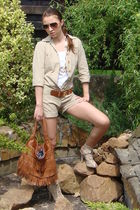 beige custom made romper - white Mango top - beige Bershka shoes - brown H&M bel