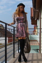 purple Bershka dress - brown Bershka cardigan - gray Zara bag