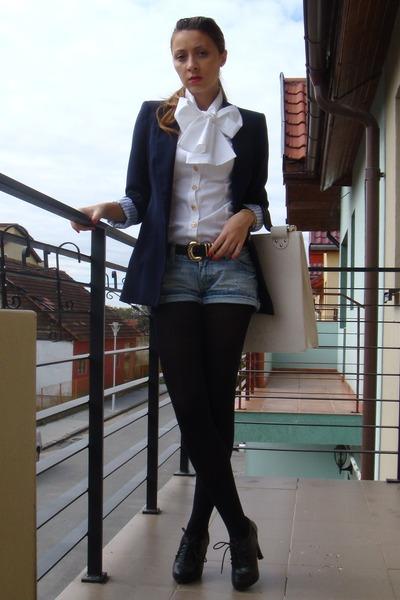 black Zara blazer - black random brand shoes - white custom made shirt