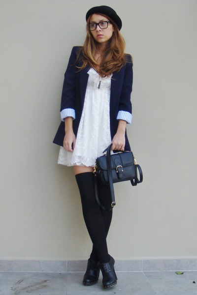 black Zara blazer - white Zara dress - black New Yorker hat - black BBup shoes -