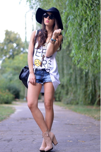 black H&M hat - blue old shorts - white Sheinside top