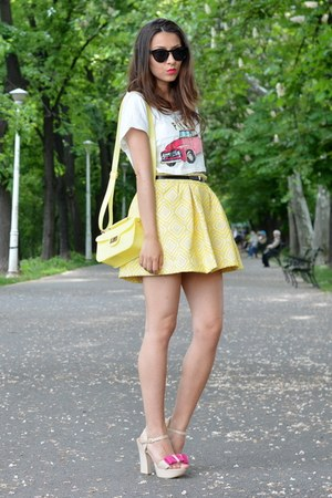 yellow Zara skirt - light yellow c&amp;a purse - black H&amp;M sunglasses