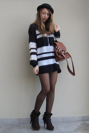 black Zara sweater - black H&amp;M tights - brown Zara boots - brown H&amp;M - black New