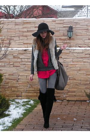 gray custom made vest - gray Zara blazer - pink Bershka top - gray Bershka jeans