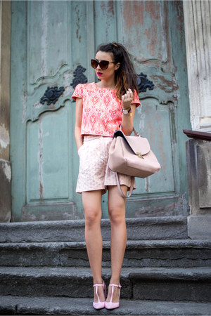 light pink bag - light pink Front Row Shop shorts - orange top