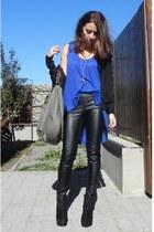blue Zara top - black no brand boots - gray Zara bag - black Stradivarius pants