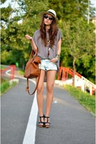 brown Massimo Dutti bag - sky blue H&M shorts - light brown nowIStyle t-shirt