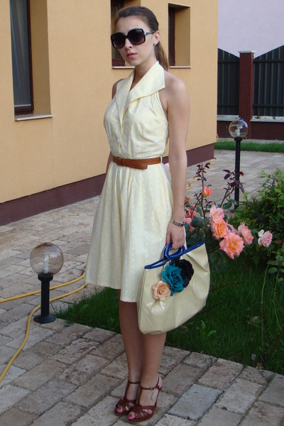 yellow vintage dresses brown thrifted belts brown custom