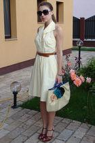 yellow vintage dress - brown thrifted belt - brown custom made shoes - beige DIY