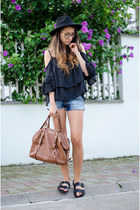 brown Michael Kors bag - brown OASAP glasses - black OASAP top - black H&M flats