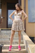 beige custom made skirt - beige Topshop top - pink Zara shoes - brown Accessoriz
