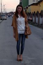 white Stradivarius shirt - blue fishbone leggings - brown custom made jacket - b