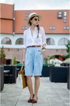 cream H&M hat - white Zara shirt - sky blue Front Row Shop shorts