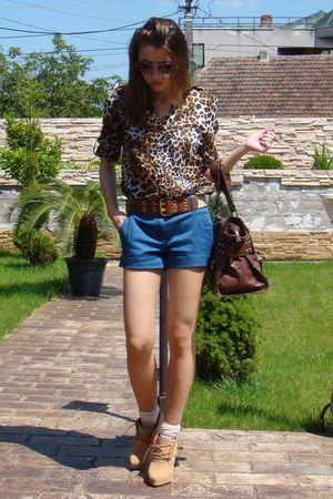 blue Mango shorts - brown Zara shirt - brown H&M belt - brown Mango accessories